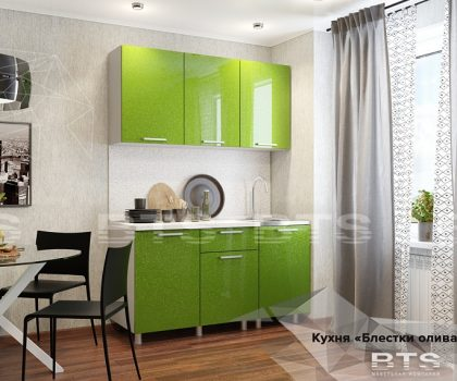 Кухня «Блестки олива» 01